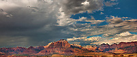 999400014 panorama thunderstorms and clouds form over west temple and zion geological formations in this view from a backcountry scenic byway near hurricane utah