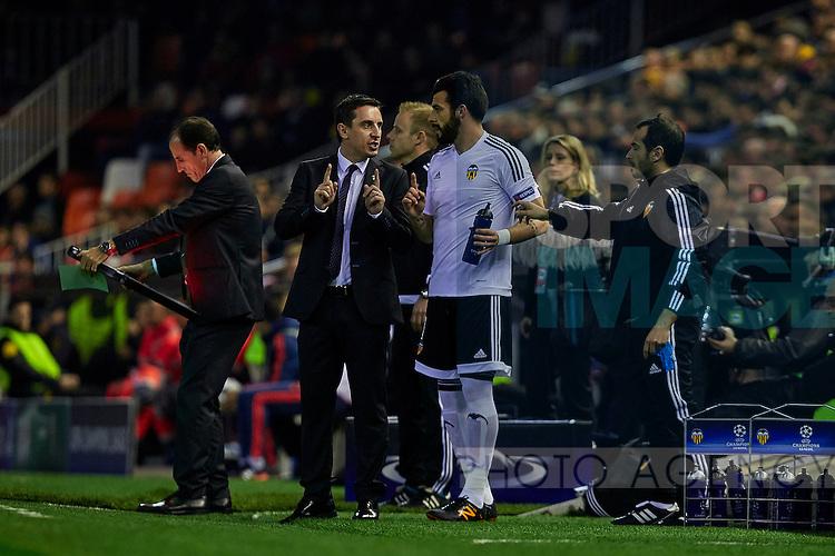 Gary Neville (L) head coach of Valencia CF gives instructions to Alvaro Negredo of Valencia CF  - UEFA Champions League Group H - Valencia CF vs Olympique Lyonnais - Mestalla Stadium - Valencia- Spain - 09th December 2015 - Pic David Aliaga/Sportimage