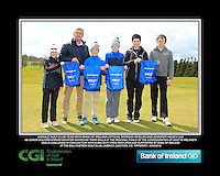 Kinsale GC team with Bank of Ireland Official Morgan Whelan and CGI Participation Officer Jennifer Hickey with Junior golfers across Munster practicing their skills at the regional finals of the Dubai Duty Free Irish Open Skills Challenge at the Ballykisteen Golf Club, Limerick Junction, Co. Tipperary. 16/04/2016.<br /> Picture: Golffile | Thos Caffrey<br /> <br /> <br /> <br /> <br /> <br /> All photo usage must carry mandatory copyright credit (© Golffile | Thos Caffrey)