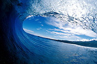 looking out of a large breaking wave, Tahiti, French Polynesia, South Pacific Ocean