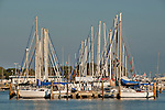 Sunset on the boats at the City Marina in St. Petersburgh, Florida at Tampa Bay