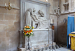 Interior of the priory church at Edington, Wiltshire, England, UK Bissett Taylor d 1817 memorial monument by Sir Francis Chantrey