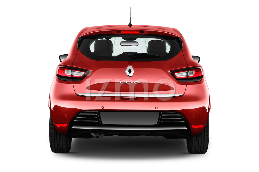 Straight rear view of 2017 Renault Clio Intens 5 Door Hatchback Rear View  stock images
