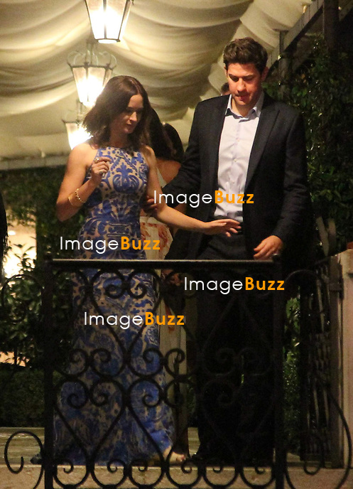 Emily Blunt &amp; John Krasinski - GEORGE CLOONEY &amp; AMAL ALAMUDDIN CELEBRATE STAG NIGHT EVENT AT DA IVO RESTAURANT IN VENICE - <br /> George Clooney &amp; British fiancee Amal Alamuddin celebrate their stag night event at the Da Ivo restaurant in Venice, prior to their wedding day. <br /> Robert De Niro, Matt Damon, Brad Pitt and Cate Blanchett were among the other stars, like Cindy Crawford, Rande Geber, Bill Murray, Emily Blunt.<br /> Italy, Venice, 26 September, 2014.
