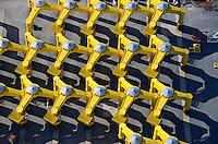Cuxhafen Steel Construction GMBH: EUROPA, DEUTSCHLAND, NIEDERSACHSEN, CUXHAFEN (EUROPE, GERMANY), 11.04.2011: Industriegelaende zur Herstellung und Transport von Offshore Windkraft Anlagen, Cuxhafen Steel Construction GMBH, Gruendungsstrukturen fuer Offshore-Windenergieanlagen, Stahlbau, Dreibein, Fundamente, Spinne, Standsicherheit, gelb, BARD, CSC,.Die BARD-Gruppe bietet schluesselfertige Windparks auf See. Alle notwendigen Komponenten fuer leistungsfaehige Offshore-Windkraftwerke vom standortangepassten Spezialfundament bis zum aerodynamisch optimierten Rotorblatt, inklusive Installation mit unserer leistungsstarken Jack-Up-Barge,