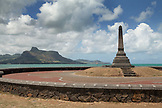 MAURITIUS, a monument dedicated to the abolition of slavery stands tall by the waterfront in Mahebourg