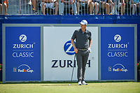 Justin Rose (GBR) has a laugh as his walk up music is played on the first tee during Round 3 of the Zurich Classic of New Orl, TPC Louisiana, Avondale, Louisiana, USA. 4/28/2018.<br /> Picture: Golffile | Ken Murray<br /> <br /> <br /> All photo usage must carry mandatory copyright credit (&copy; Golffile | Ken Murray)