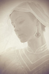ghostly photo of beautiful young caucasian woman in retro style