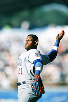 Sammy Sosa of the Chicago Cubs throws before a 1999 Major League Baseball season game against the Los Angeles Dodgers in Los Angeles, California. (Larry Goren/Four Seam Images)