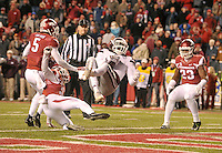 NWA Democrat-Gazette/MICHAEL WOODS • Mississippi State receiver De'Runnya Wilson scores a touchdown in front of Arkansas defender's Rohan Gaines (26) Henre' Toliver (5) and Dre Greenlaw (23) in the 4th quarter of Saturday nights game at Razorback Stadium November 21, 2015.