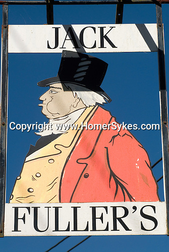 """John Fuller of Brightling Sussex 1757-1834. Jack Fuller pub sign in hanging outside former pub called """"Jack Fullers Coaching House"""" in in village of Oxley Green Sussex."""
