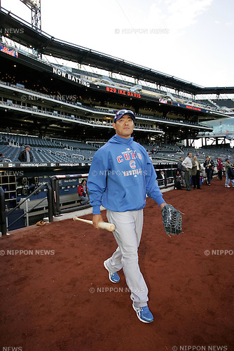 Kosuke Fukudome (Cubs),APRIL 19th, 2010 - MLB : Kosuke Fukudome of the Chicago Cubs  during batting practice before the game against the New York Mets at Citi Field in Flushing, NY, USA. (Photo by Thomas Anderson/AFLO) (JAPANESE NEWSPAPER OUT)