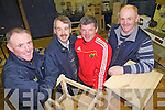 Past pupils Declan Mangan, Jimmy Daly, John Moloney and Billy Mangan revisit the woodwork room in Abbeyfeale Vocational School as part of an open evening held last Friday to celebrate its 60th and final year,