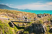 Tourists on a bridge among limestone formations in Punakaiki - Paparoa National Park, West Coast, New Zealand