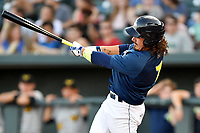 Right fielder Jay Jabs (7) of the Columbia Fireflies bats in a game against  the West Virginia Power on Thursday, May 18, 2017, at Spirit Communications Park in Columbia, South Carolina. Columbia won in 10 innings, 3-2. (Tom Priddy/Four Seam Images)