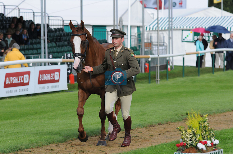 Geoff Curran & Shanaclough Crecora at the 1st Veterinary Inspection at the 2012 Land Rover Burghley Horse Trials in Stamford, Lincolnshire, England, UK.