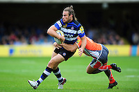Max Clark of Bath Rugby is tackled in possession. Aviva Premiership match, between Bath Rugby and Newcastle Falcons on September 10, 2016 at the Recreation Ground in Bath, England. Photo by: Patrick Khachfe / Onside Images