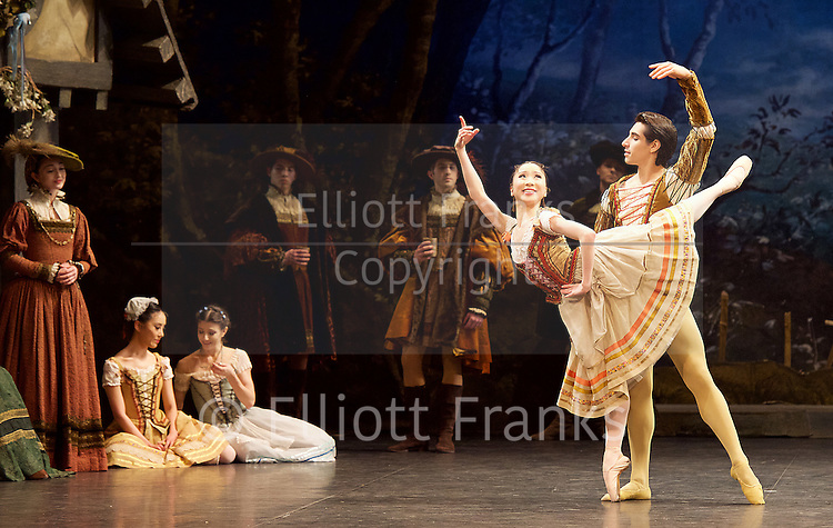 Giselle <br /> English National Ballet at The London Coliseum, London, Great Britain <br /> rehearsal <br /> 10th January 2017 <br /> <br /> Rina Kanehara <br /> Cesar Corrales <br /> Peasant pas de deux <br /> <br /> <br /> <br /> Photograph by Elliott Franks <br /> Image licensed to Elliott Franks Photography Services