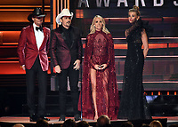 08 November 2017 - Nashville, Tennessee - Tim McGraw, Brad Paisley, Carrie Underwood, Faith Hill. 51st Annual CMA Awards, Country Music's Biggest Night, held at Bridgestone Arena.  <br /> CAP/ADM/LF<br /> &copy;LF/ADM/Capital Pictures