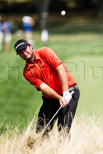 August 30, 2015: Steven Bowditch hits from the rough in front of the 18th green during the final round of The Barclays at Plainfield Country Club in Edison, NJ.