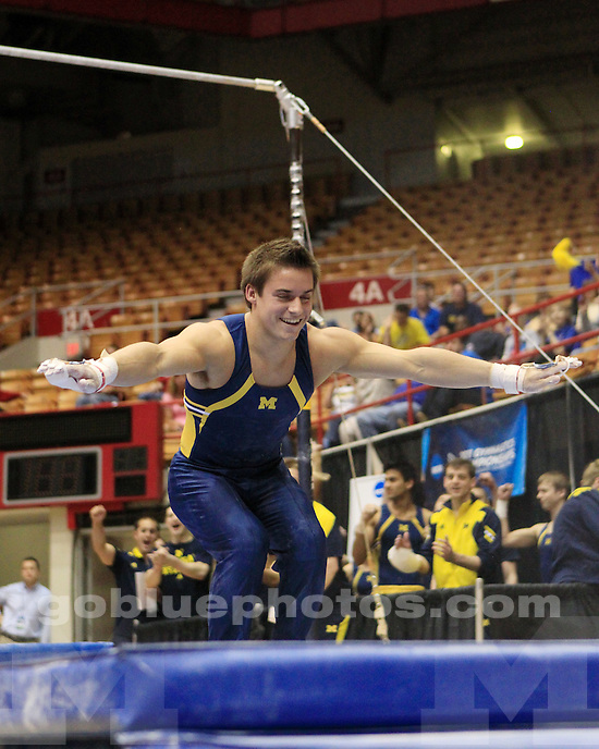 University of Michigan men's gymnastics placed third at the qualifiers on April 13, 2011, at Ohio State University and will adance to the NCAA Finals on Friday.