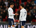 Dele Alli of Tottenham explains his celebration to Son Heung-Min of Tottenham during the premier league match at Wembley Stadium, London. Picture date 30th April 2018. Picture credit should read: David Klein/Sportimage