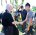 (R-L) Ryo Ishikawa (JPN), Bill Clinton,.JANUARY 17, 2013 - Golf :.Ryo Ishikawa of Japan shakes hands with Bill Clinton, a former president of the United States, during the first round of the Humana Challenge at PGA West in La Quinta, California, United States. (Photo by AFLO)