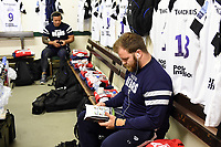 Lewis Thiede of Bristol Bears reads the matchday programme in the changing rooms prior to the match. Gallagher Premiership match, between Leicester Tigers and Bristol Bears on April 27, 2019 at Welford Road in Leicester, England. Photo by: Patrick Khachfe / JMP