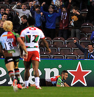 Heineken Cup. London, Danny Care of Harlequins scores a try during the Heineken Cup Pool 3 match between Harlequins and Biarritz Olympique at Twickenham Stoop on October 13, 2012 in London, England.