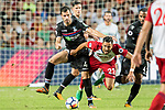 West Bromwich Albion midfielder Nacer Chadli (R) gets tripped by Crystal Palace midfielder Luka Milivojevic (L) during the Premier League Asia Trophy match between West Bromwich Albion and Crystal Palace at Hong Kong Stadium on 22 July 2017, in Hong Kong, China. Photo by Weixiang Lim / Power Sport Images
