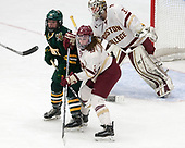 Saana Valkama (UVM - 24), Grace Bizal (BC - 2), Katie Burt (BC - 33) -  The Boston College Eagles defeated the University of Vermont Catamounts 4-3 in double overtime in their Hockey East semi-final on Saturday, March 4, 2017, at Walter Brown Arena in Boston, Massachusetts.
