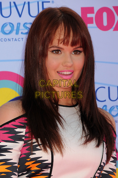 Debby Ryan.FOX's 2012 Teen Choice Awards held at The Gibson Ampitheatre in Universal City, California, USA..July 22nd, 2012.headshot portrait white black pink orange print lipstick mouth open.CAP/ADM/BP.©Byron Purvis/AdMedia/Capital Pictures.