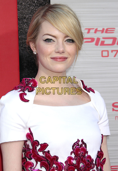 "Emma Stone.""The Amazing Spider-Man"" Los Angeles Premiere held at Regency Village Theatre, Westwood, California, USA..June 28th, 2012.headshot portrait white red fringe bangs hair .CAP/ADM/RE.©Russ Elliot/AdMedia/Capital Pictures."