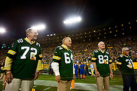 From left, Steve Wright, Jerry Kramer, Allen Brown and unidentified Packer alumni prior to introductions before Green Bay's game against the Seattle Seahawks on Sept. 20, 2015.