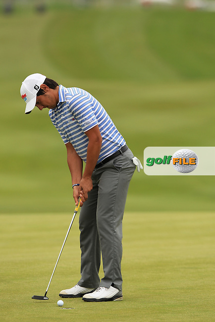 Matteo Manassero (ITA) takes his putt on the 1st green during Friday's Round 2 of the ISPS Handa Wales Open presented by The Celtic Manor Resort, Newport, Wales, 1st June 2012 (Photo Eoin Clarke/www.golffile.ie)