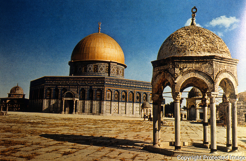 "Islamic Architecture:  Dome of the Rock.  ""An edifice of the Pre-Islamic type"".  685-705.  The Rock, according to tradition, was the place of Abraham's sacrifice. Arabs claimed him as a father."