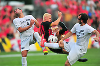 Gordon Wild of the Terrapins reacts after a defender falls on him. Maryland defeated Penn State in over time 3-2 during an NCAA D-1 soccer match at Ludwig Field in College Park, MD on Sunday, September 18, 2016.  Alan P. Santos/DC Sports Box