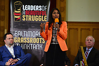 Baltimore, MD - June 2, 2018:  Krishanti O'Mara Vignarajah speaks during a forum with democrat candidates for Maryland Governor at the New Waverly United Methodist Church in Baltimore, Maryland, June 2, 2018, as Ben Jealous and Jim Shea look on. Leaders of a Beautiful Struggle sponsored the forum. (Photo by Don Baxter/Media Images International)