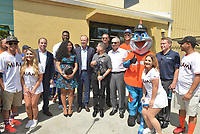 MIAMI, FL - JULY 11: President of Boys & Girls Clubs of Miami-Dade Alex Rodriguez-Roig, Miami Marlins President David Sampson, MLB Commissioner Rob Manfred, Alex Rodriguez (A-Rod), Miami Marlin's Outfielder Giancarlo Stanton, Billy The Marlins and VP & GM with Scotts Josh Peoples attend the All-Star Week Legacy Project with A-Rod & Giancarlo Stanton at Boys & Girls Clubs of Miami-Dade on July 11, 2017 in Miami, Florida. Credit: MPI10 / MediaPunch