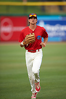 Clearwater Threshers center fielder Mark Laird (6) jogs back to the dugout during a game against the Palm Beach Cardinals on April 15, 2017 at Spectrum Field in Clearwater, Florida.  Clearwater defeated Palm Beach 2-1.  (Mike Janes/Four Seam Images)
