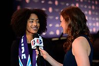 Philadelphia, PA - Thursday January 18, 2018: Nadia Gomes, Jordan Angeli during the 2018 NWSL College Draft at the Pennsylvania Convention Center.
