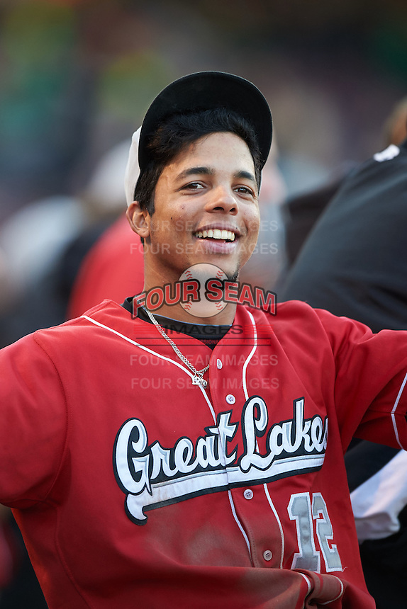Great Lakes Loons second baseman Kelvin Ramos (12) in the dugout during a game against the Dayton Dragons on May 21, 2015 at Fifth Third Field in Dayton, Ohio.  Great Lakes defeated Dayton 4-3.  (Mike Janes/Four Seam Images)