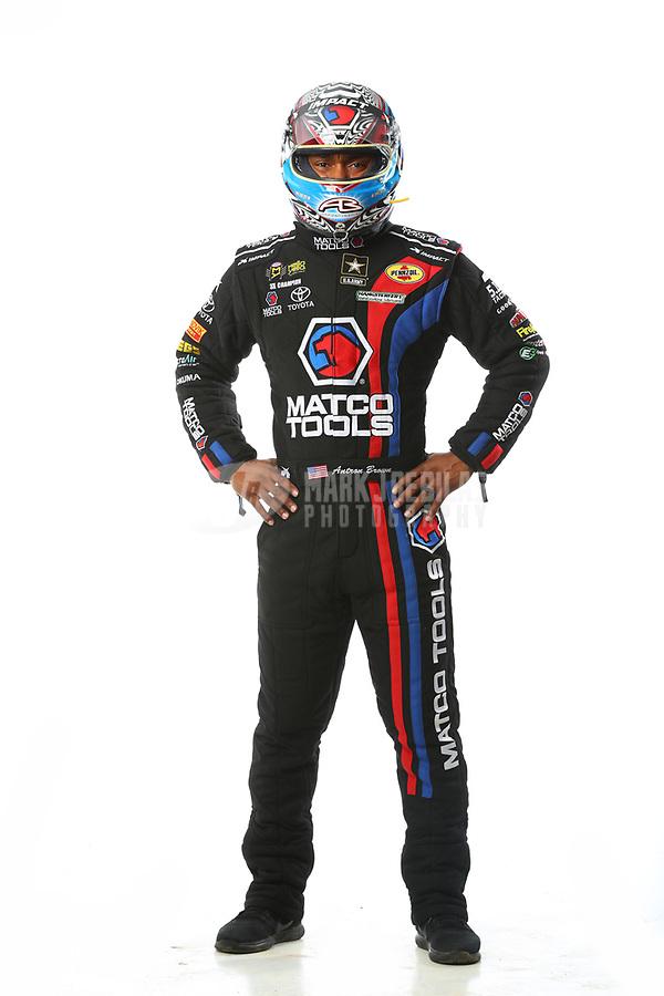 Feb 7, 2018; Pomona, CA, USA; NHRA top fuel driver Antron Brown poses for a portrait during media day at Auto Club Raceway at Pomona. Mandatory Credit: Mark J. Rebilas-USA TODAY Sports