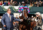 LEXINGTON, KY - April 07, 2018. #12 Finley'sluckycharm and jockey Brian Hernandez Jr. after winning the 17th running of The Madison Grade 1 $300,000 with owner Carl Moore at Keeneland Race Course.  Lexington, Kentucky. (Photo by Candice Chavez/Eclipse Sportswire/Getty Images)