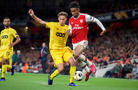 Reiss Nelson of Arsenal & Mergim Vojvoda of Standard Liege during the UEFA Europa League match between Arsenal and Standard Liege at the Emirates Stadium, London, England on 3 October 2019. Photo by Andrew Aleks.