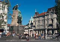 Slowenien, Ljubljana Preseren-Denkmal auf Presernov Trg