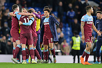 David Martin of West Ham United is surrounded by his team mates at the final whistle  during Chelsea vs West Ham United, Premier League Football at Stamford Bridge on 30th November 2019