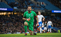 Goalkeeper Gianluigi Buffon (Juventus) of Italy closes his eyes during the International Friendly match between Argentina and Italy at the Etihad Stadium, Manchester, England on 23 March 2018. Photo by Andy Rowland.