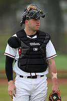 February 27, 2010:  Catcher Justin Olsen of the Rutgers Scarlet Knights during the Big East/Big 10 Challenge at Raymond Naimoli Complex in St. Petersburg, FL.  Photo By Mike Janes/Four Seam Images