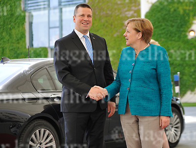 June 15-17,Chancellery,Berlin,Germany<br /> Estonian Prime Minister Juri Ratas is welcomed by German Chancellor Angela Merkel